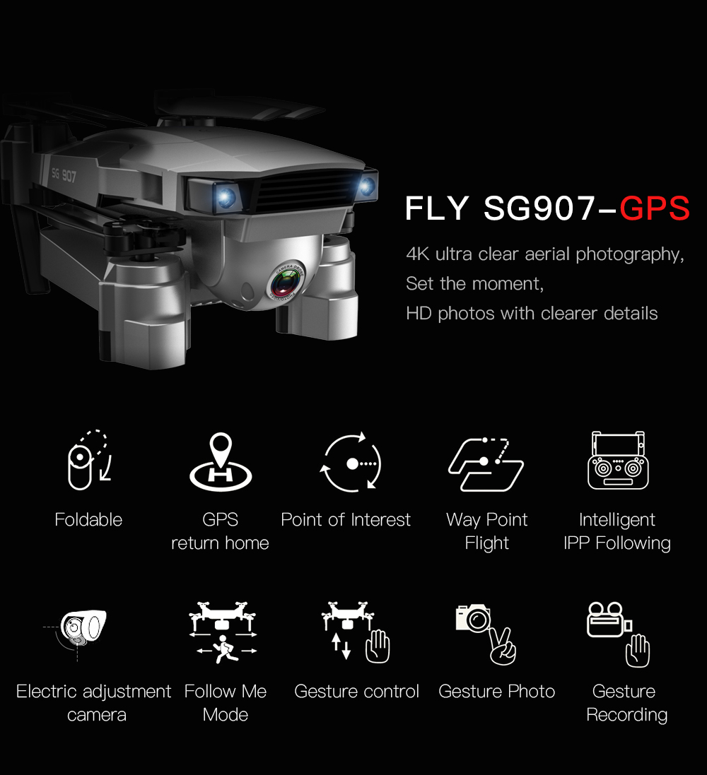 SG907 WIFI RC Quadcopter GPS Drone with 4K HD Dual Camera for Wide Angle Video Shooting 7