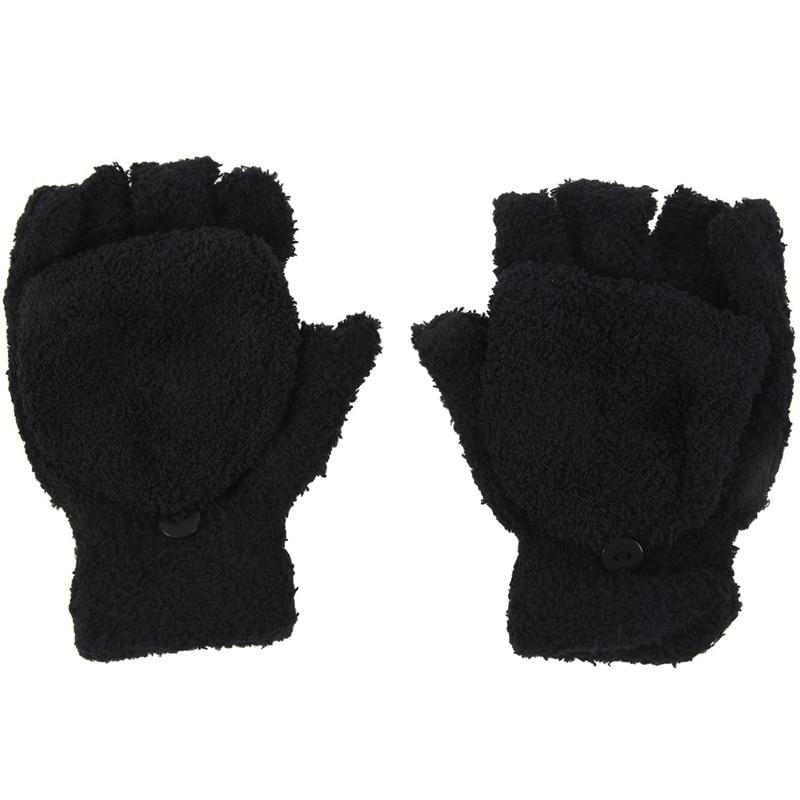 Girls Cute Fluffy Hand Wrist Warmer Soft Winter Fingerless Gloves Women Mitten Black