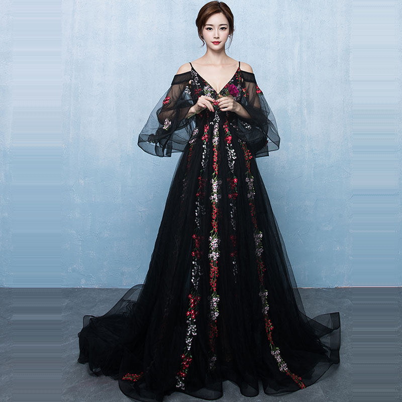 Evening Dress Sexy V-neck Women Party Dresses Embroidery Lace Up Robe De Soiree 2019 Plus Size Long Sleeve Formal Gowns E730