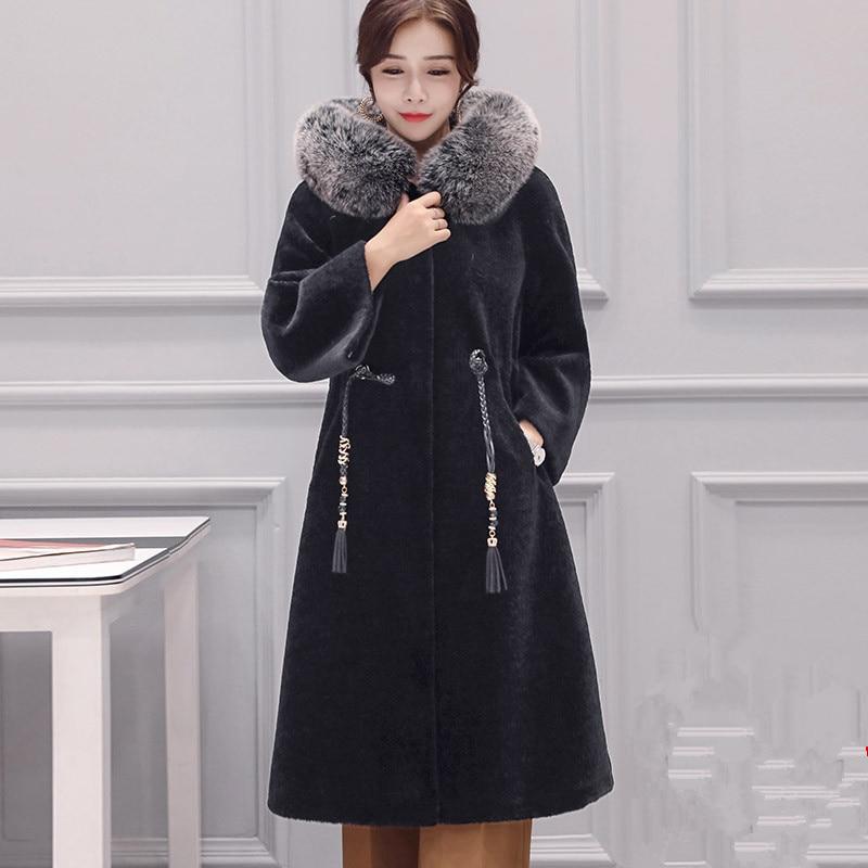 Real Women Fur Coat Sheep Shearling Fur Korean Vintage Autumn Winter Jacket Women Clothes 2020 Mink Fur Collar 100% Wool Coat