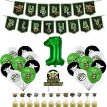 1 ensemble de ballons Yodaed en Latex, 32 ou 12 pouces, bannière, gâteau, décoration pour fête prénatale, anniversaire, fournitures de fête de guerre pour garçon