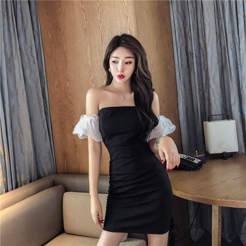 Женская одежда, Летние черные мини-платья с открытыми плечами, с вырезом лодочкой, с пышными рукавами, для вечерние, облегающее платье, сексу...
