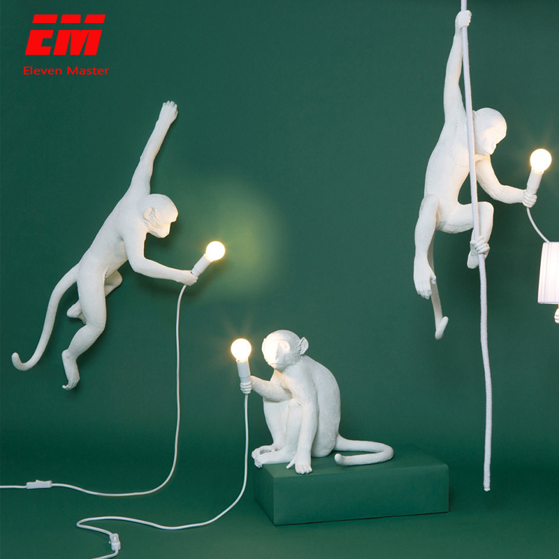 Resin Monkey Lamp Modern Hemp Rope Pendant Lights Country Loft Industrial Hanging Lamp Luminaire Home Decor Fixtures ZDD0015