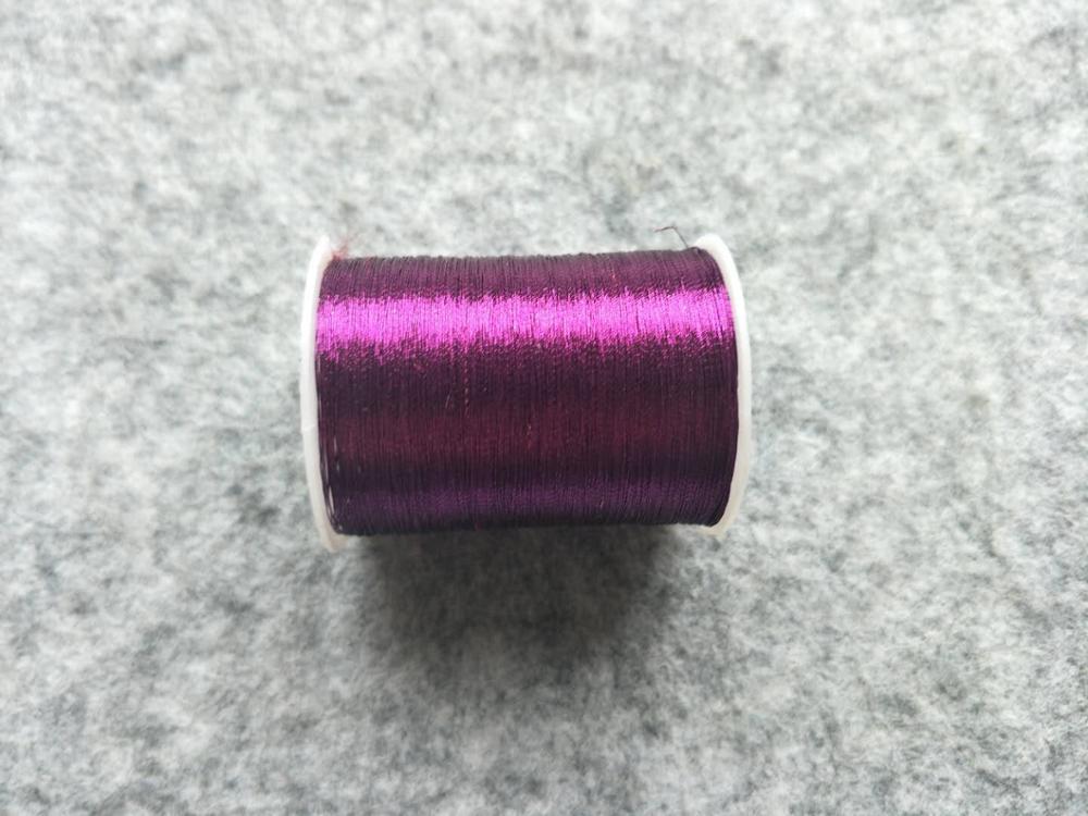 Металлическая нить для вышивки, аксессуары для одежды DIY, основные 15 видов цветов на выбор, нить для шитья, 1 шт - Цвет: purple
