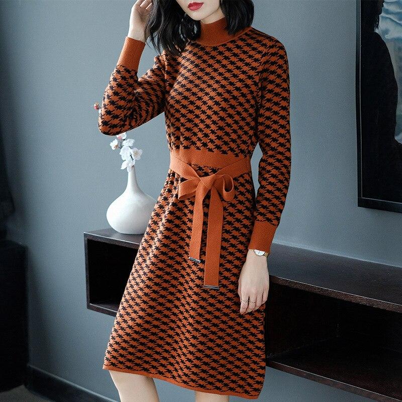 Automne hiver Europe et états-unis Vintage femmes laine robe épaississement tricot robe décontracté tricoté pull robes 2019