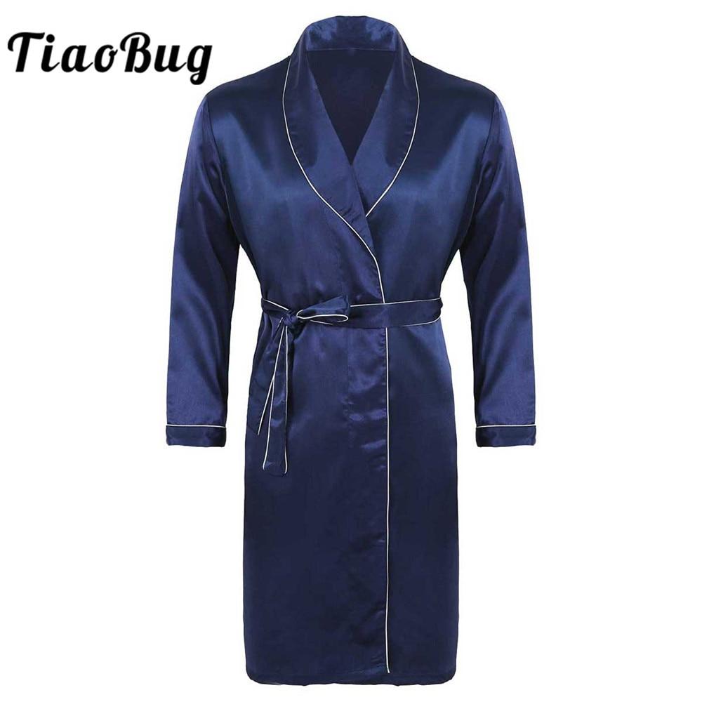 TiaoBug Summer/Autumn Men Silky Satin V Neck Long Sleeves Bathrobe Nightgown Male Casual Kimono Robe Loungewear Sleepwear Pajama