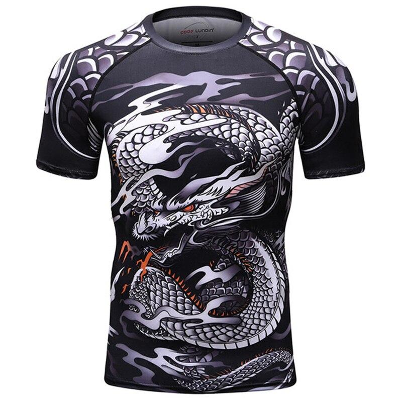 2019 New BJJ Rashguard T Shirt Men's Compression Shirt MMA Fitness Muscle UFC Fight TOP Muay Thai Tees Jiu Jitsu Tight Fightwear