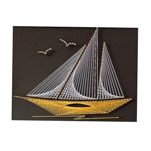 Струнное художественное украшение для дома DIY намотка резьбы Рисование дерево стереоскопическая декоративная живопись 40х30см