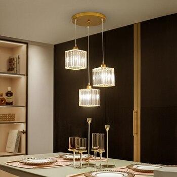 Modern Nordic Crystal Pendant Lights Led Vintage Creative Golden Hanglamp for Restaurant Livingroom Bedroom Deco Maison Lustres