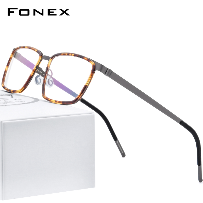 FONEX Acetate Alloy Glasses Frame Men Square Myopia Optical Prescription Eyeglasses Frames 2020 New Screwless Eyewear 98629