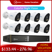 Movols 2MP AI Colorful Night Vision CCTV Kit Outdoor Waterproof Video Surveillance System 8CH DVR 8PCS