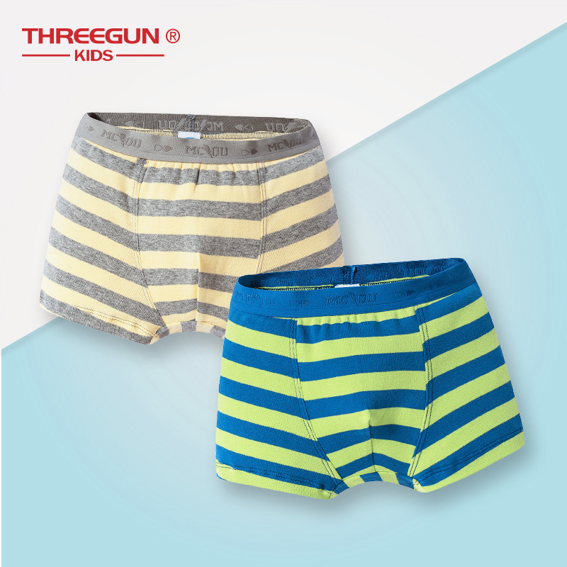 THREEGUN Kids 2pcs/Lot Boys Children Underwear Cotton Panties Teenager Boxers Boys Underwear 7-14 Years Briefs