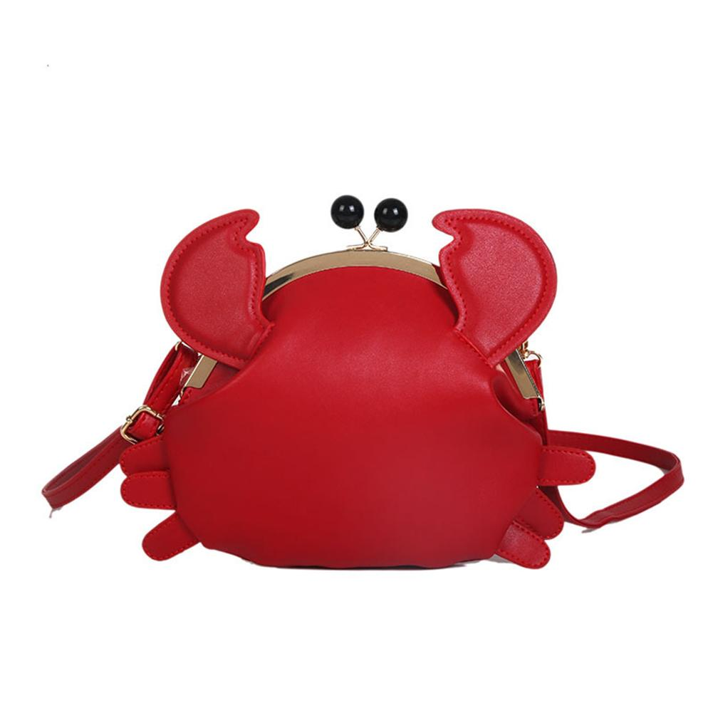Women Funny Crab Shape Solid Color Lady Faux Leather Twist Lock Crossbody Shoulder Bag Gift