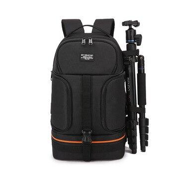 Camera Backpack No Side Open Travel Carrying Camera Bag for Canon for Nikon DSLR Camera Tripod Lens Flash Tablet Laptop Pad Bag
