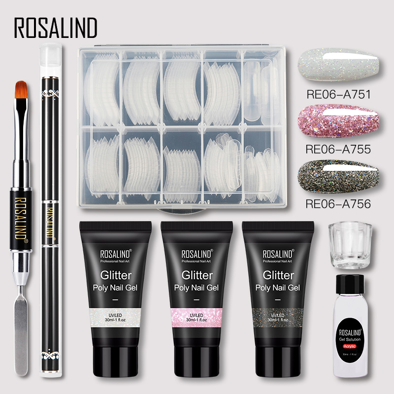 ROSALIND Poly Nail Gel Extension Nail Kit All For Manicure Gel Set Acrylic Solution Water Builder Gel Polish For Nail Art Design 22