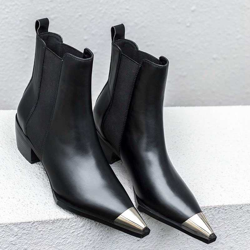 2020 חדש באיכות גבוהה עבה גבוהה עקבים אופנה נשים קרסול מגפי מחודדת הבוהן הנעלה נשי מגפי אישה שחור מיקרופייבר נעליים