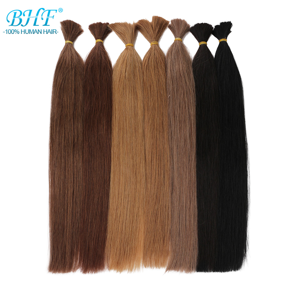 BHF No Weft Human Hair Bulk Machine Made Remy Brazilian Straight Human Braiding Hair Bulk 100g/piece