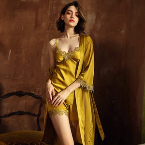 Image 2 - JULYS şarkı 5 adet kadın pijama setleri zarif seksi dantel sahte ipek pijama kadın leke ilkbahar yaz sonbahar elbise ev tekstili