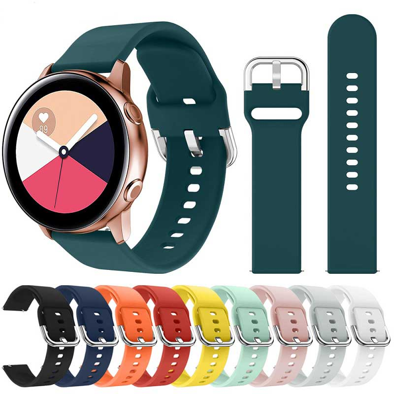 20mm22mm Soft Silicone Watchband For Samsung Galaxy Watch Active 42mm Gear S2 Sport Waterproof Women Men Bracelet Band Strap