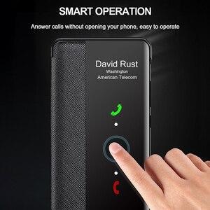 Image 2 - מקורי אמיתי עור Flip כיסוי עבור Huawei P40 פרו בתוספת מקרה מראה חכם מגע צפה Windows עבור Huawei P30 P20 פרו מקרה