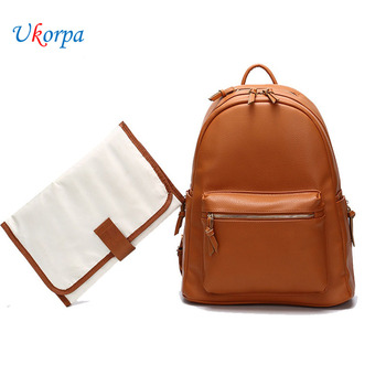 Fashion Quality PU Leather Baby Diapers Diaper Bag Backpack Maternity Changing Pad Stroller Straps Baby Nappy Bags Waterproof