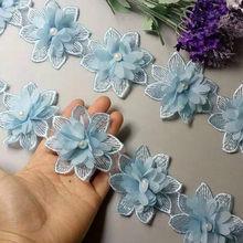 Mousseline de soie Soluble avec fleur de perle bleu ciel, ruban de dentelle tissu à bordure en dentelle brodé, couture de ruban, artisanat fait à la main, pour la décoration de Costume