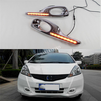 1 Set 12V ABS LED For Honda Jazz Fit 2011 2012 2013 DRL Daytime Running Light Daylight With Yellow Turn Signal Lamp