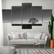 Черно белое дерево вид мира Плакат минималистическое украшение
