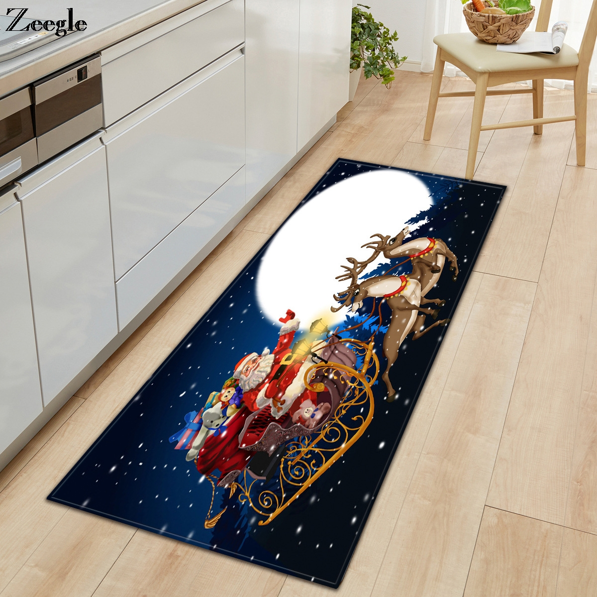 Zeegle Christmas Carpet Soft Long Kitchen Floor Doormat