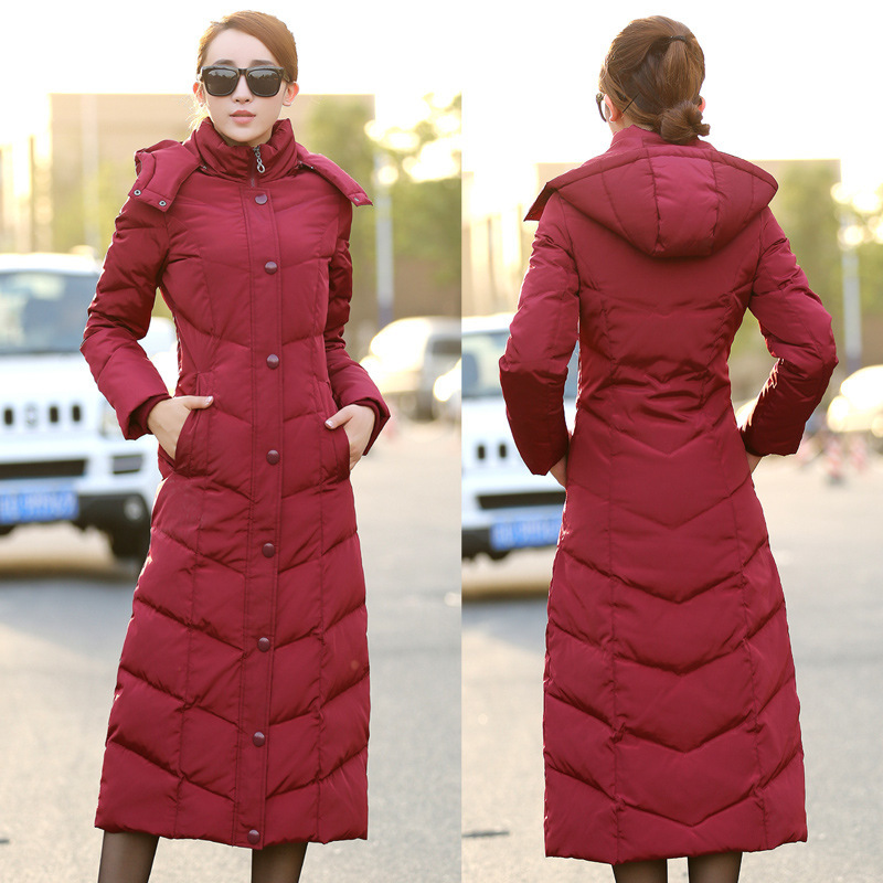 New Winter White Duck Down Parka Women Jackets Warm Thick X-long Slim Hooded Overcoat Hot Sale Plus Size 4XL LX811