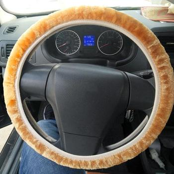 1 PC Universal Steering-wheel Plush Car Steering Wheel Covers Winter Warm Soft Plush Car Interior Accessories image