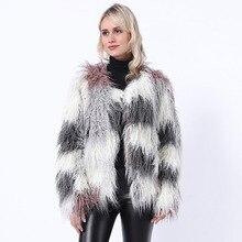 ZADORIN 2020 Winter Warm Fluffy Soft Women Faux Fur Coat Mix Color Long Sleeve Fluffy Fur Jacket Luxury Coats Female Outerwear