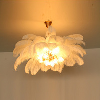 Nordic Bedroom Light Luxury Ostrich Feather Chandelier Creative Personality Romantic Wedding Decoration Princess