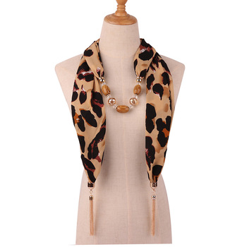 цена на Fashion Women Tassel Necklace Chiffon Scarf Wrap Fringed Beads Chain Bid Sexy Female Leopard Snake Skin Print Exaggerated Collar
