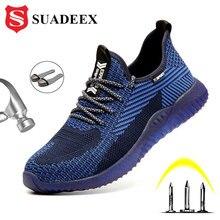 Suadeex homens aço toe sapatos de trabalho segurança respirável leve confortável construção industrial sapatos antiderrapante punctura