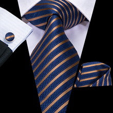 Hi-Tie Businesss Blue Mens Ties Set Silk Striped Tie Hanky Cufflinks 8.5cm Wide Classic Business Wedding Pocket Square