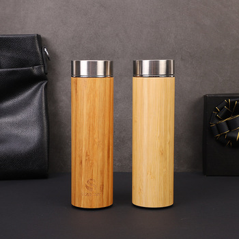 1PCS Creative 500ml Bamboo Wood Thermos Cup 304 Stainless Steel Morning Water Bottles Wood Grain Bamboo Car Gift Cup 6