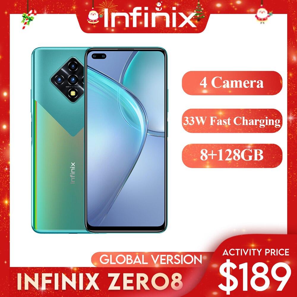 """Infinix Zero 8 Celular Versão Global 128 GB 8 GB RAM Octa Core 4 90 hz 6.8 """"Display Câmeras 64 Mp Helio G90t Processador 33W Carga Rápida"""