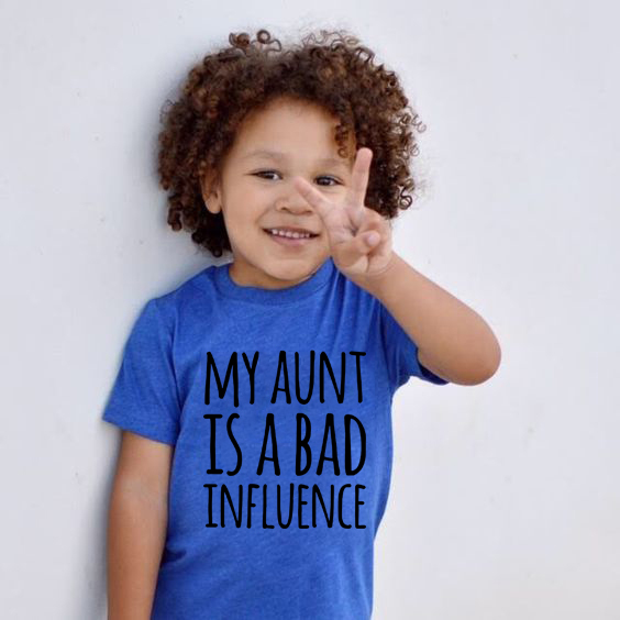 My Aunt Is A Bad Influence Summer Children T-shirt Funny Letter Print Kids Boys Girls Tees Shirts Tops Fashion Toddler Outfits