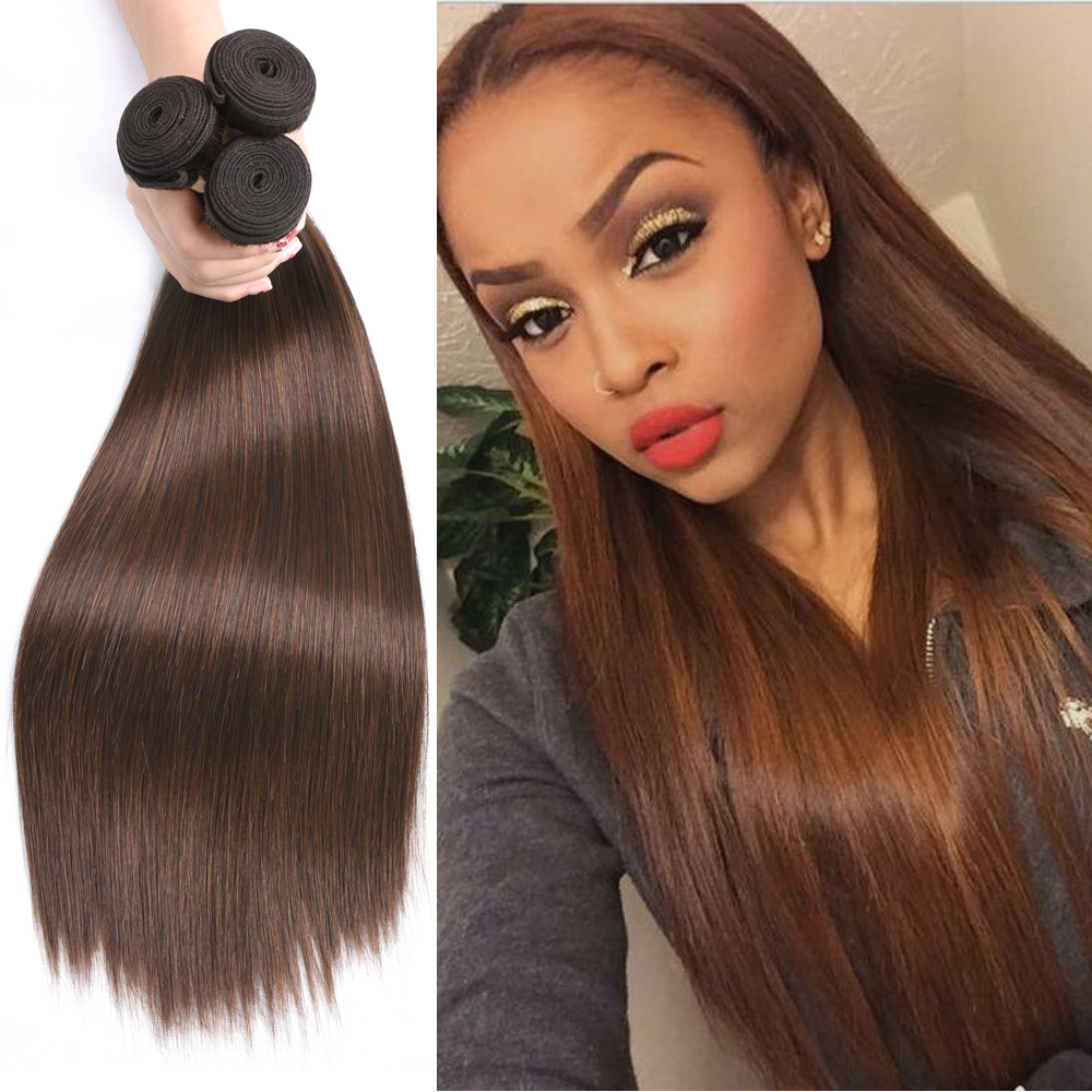 BEAUDIVA Hair #4 Brown Straight Brazilian Hair Weave Bundles 3 Piece Remy Human Hair Extensions 95G Free Shipping