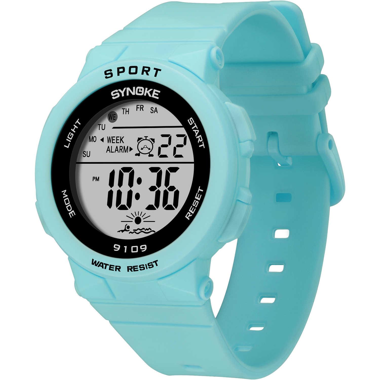 PANARS แฟชั่นไฟ LED สีสันเด็กนักเรียนนาฬิกากันน้ำเด็กดิจิตอลนาฬิกาปลุกนาฬิกาข้อมือกีฬาลำลอง
