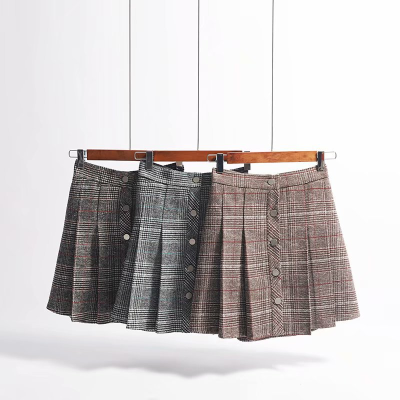 Autumn And Winter Korean-style Retro High-waisted Plaid Skirt Contrast Color Pleated Single Breasted Sheath Short Skirt Woolen A