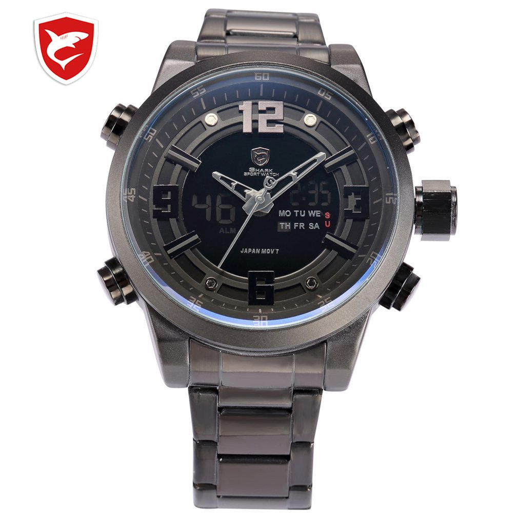 Basking Shark Sport Watch Brand Fashion Chrono Men Waterproof Digital Military Steel Band Watches Clock Relogio Masculino