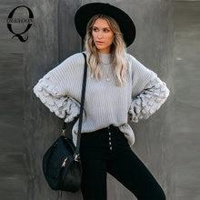 Женский плотный свитер quevoon повседневный вязаный пуловер