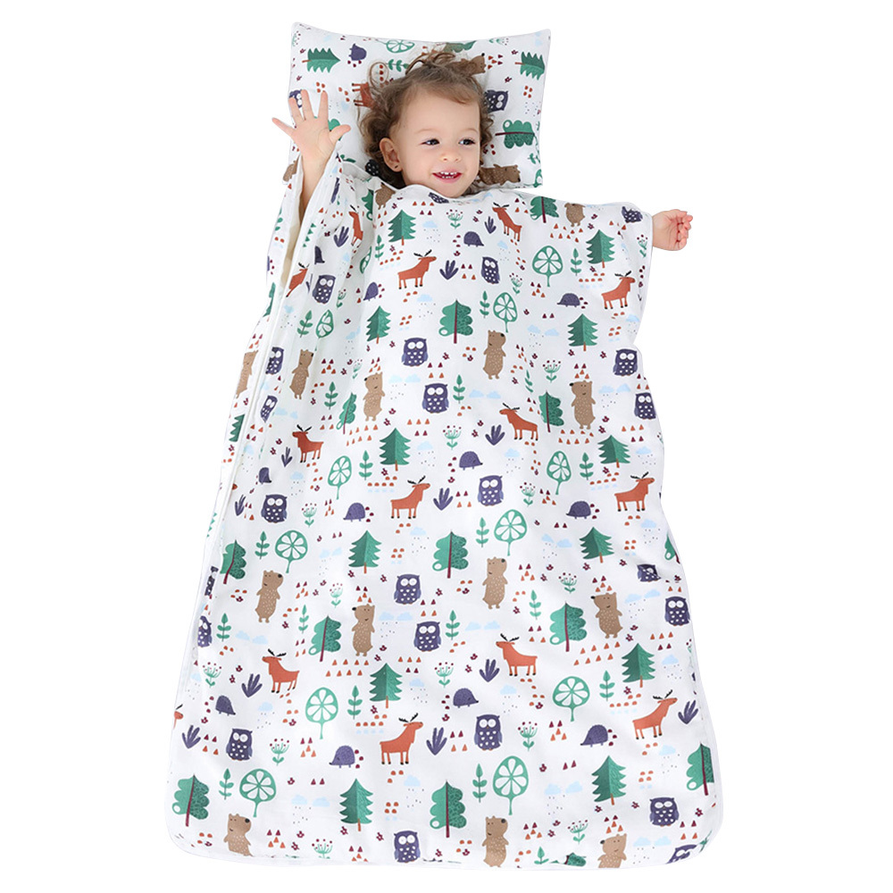 Kid Nap Mat Toddler Cotton Nap Pad Preschool Daycare Removable Pillow Sleeping Bag Autumn Winter Conditioning Blanket Nap Mat