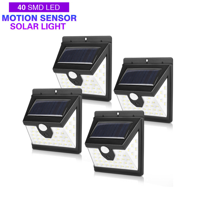 40 LED Solar Power Light 3 Modes Human Body Sensor 4pcs Solar Wall Lamp Outdoor Waterproof Energy Saving Garden Yard Lights