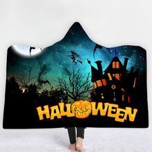Halloween Hooded Blanket Pumpkin Witch Thick Throw Pom Throws for Sofa Thickening Mantle Cobertores 150*200cm