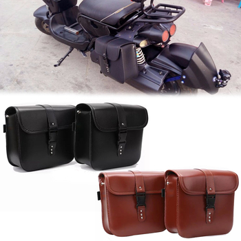 Leather Saddlebag For BWM R1200GS ADV For Harley Touring Street Gilde Sportster XL883 XL1200 Saddle Side Bag PU Luggage Brown 2 x pu leather motorrad sportster sacoches saddle bags for harley davidson sportster tool bag xl883 xl1200 brown black