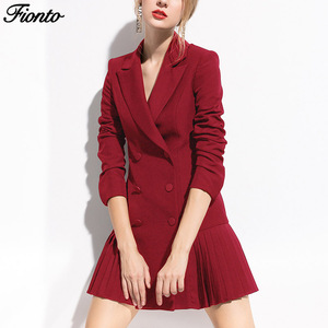 FIONTO Autumn Fashion Blazer Women Dress Suits Double Lion Buttons Shawl Collar Long Sleeve Pleated Blazers Dress Suit Jacket