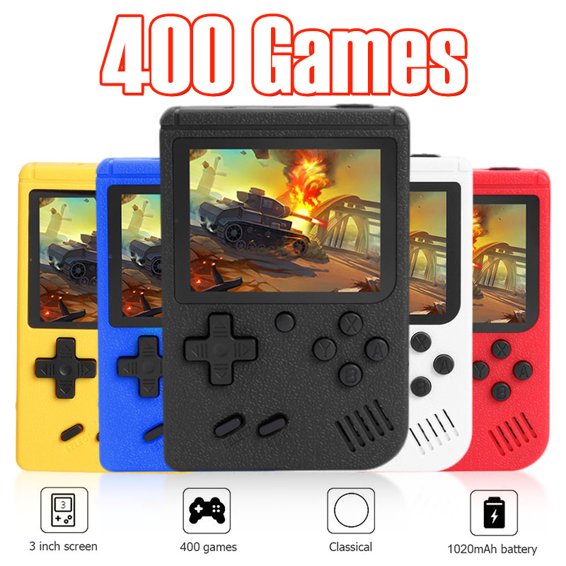 ALLOYSEED Retro Video Game Console 3 inch Color Screen Mini Pocket Handheld Game Player Built-in 400 Classic Games For Kids Gift